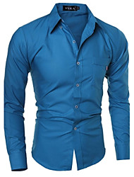 Men's Solid Casual Shirt,Cotton Long Sleeve Blue / Green