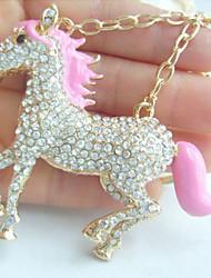 Unique Pink Enamel Clear Rhinestone Crystal Horse KeyChain Pendant
