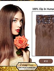 """Brun moyen d'or de 18 """"(n ° 10) clip en extensions de cheveux humains remy"""