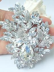 Gorgeous 4.33 Inch Silver-tone Clear Rhinestone Crystal Flower Brooch Wedding Deco Bridal Bouquet