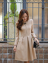 Z&yi Women's Solid Color Beige Dresses , Casual / Work Tailored Collar Long Sleeve