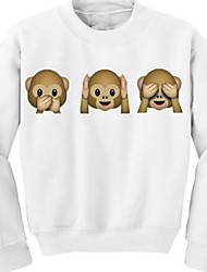 Women's Casual/Cute 3D Monkey Face Hoodies , Long Sleeve Medium