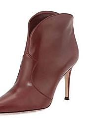 Zapatos de mujer Cuero Tacón Stiletto Punta Redonda Botas Casual Negro/Marrón