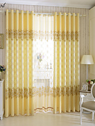 (One Panel) Grommet Top Polyester Cotton Blend Jacquard Modern Yellow Fabric Curtain Drapes