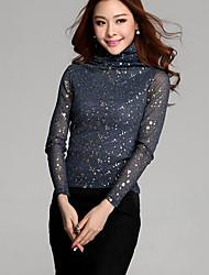 Women's Floral Blue/Black Blouse , Casual/Print Turtleneck Long Sleeve
