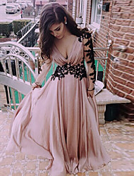 Women's Lace V-Neck Backless Long Sleeve Dress