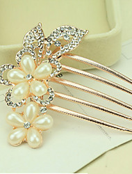 South Korea High-Grade Ornaments in Combs Hair Clasp Diamond Pearl Twist  Two Flowers