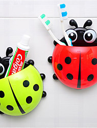 Cartoon Ladybug Shape Toothbrush Holder Mount With Suction Grip Wall Rack Bathroom