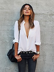 SEXY Women's Color Block White / Black Casual Shirts , Vintage / Sexy / Casual / Work V-Neck Long Sleeve