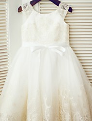 A-line Tea-length Flower Girl Dress - Lace/Tulle Sleeveless