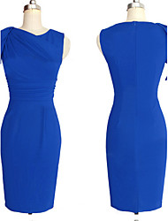 Women's Slim Solid One Step Dress , Party Round Neck Sleeveless