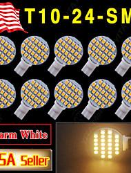 10 x blanc chaud t10 coin rv aménagement paysager 24-SMD ampoules LED W5W lumière 921 168 194