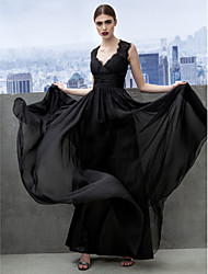 TS Couture Formal Evening Black Tie Gala Dress - Open Back A-line Sweetheart Floor-length Chiffon with Lace Criss Cross
