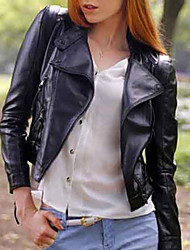 Women's Solid Black Jackets , Casual Stand Long Sleeve Pocket