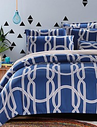 Elegant Blue Strips Bedding Set Of 4pcs Thick Sanding Fabric For Autumn & Winter Seasons Use
