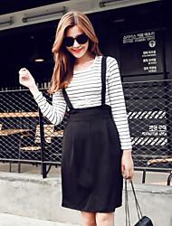 Women's Striped White / Black Set , Round Neck Long Sleeve
