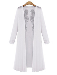 Damen Druck Übergröße Mantel,Herbst Chorhemd Ausschnitt Langarm Weiß / Schwarz Mittel Baumwolle / Andere