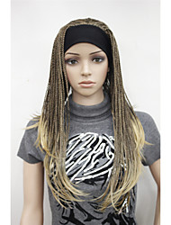 nueva moda 3/4 peluca con medio diadema marrón con largas trenzas resaltar jengibre peluca pelucas cosplay peluca sintética media