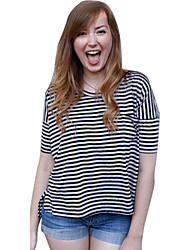 Women's Striped  Blouse , Round Neck