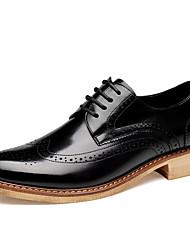 Sapatos Masculinos Oxfords Preto / Amarelo Couro Envernizado Casual