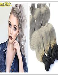precio de fábrica 8a plata ombre brasileño pelo virginal cuerpo de la armadura 2 de tono 1b extensiones de cabello humano de la armadura