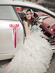 PE Rose Flower Decoration Car Door & Rearview Mirror