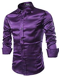 Обтягивающий силуэт / Повседневный - MEN - Повседневные рубашки ( Смешанная хлопковая ткань Как у рубашки - Длинный рукав