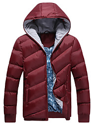 JISNEYMen's Regular Parka Coat , Cotton Pure Long Sleeve Collar cotton-padded jacket Warm pure color cotton