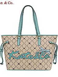 Kate & Co.® Women PVC Shoulder Bag White / Camel - TH-02225