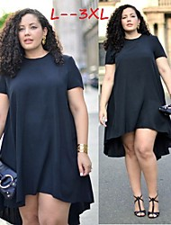 Women's Solid Black Plus Size Dresses , Casual Round Short Sleeve