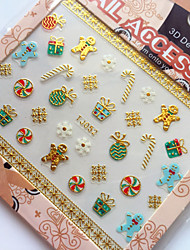3D Gilding Christmas Series Gingerbread Man Nail Art Stickers