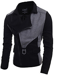 Men's Long Sleeve Short Trench coat , Wool Blend Plaids & Checks