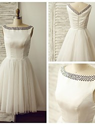 A-line Wedding Dress - Ivory Knee-length Bateau Satin / Tulle