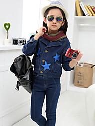Girl's Stars Pattern Slim Denim Short Coat