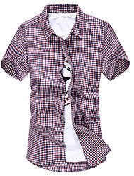 Men's Short Sleeve Cotton Casual Plaids & Checks