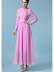 Women's Party/Cocktail Vintage Loose Dress,Solid Stand Maxi ½ Length Sleeve Purple Fall
