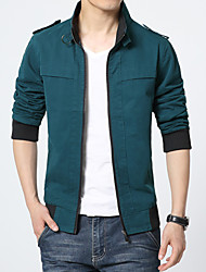 Men's Long Sleeve Jacket , Polyester Casual / Work / Formal Pure