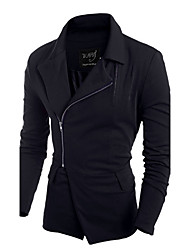 Men's Long Sleeve Regular Trench coat , Others Pure