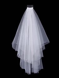 bridal Wedding ivory white Bead Veil Two-tier Fingertip Veils Cut Edge