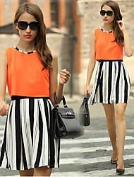 Women's Striped Orange Dresses , Party Round Sleeveless