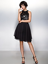 A-Line Halter Knee Length Chiffon Sequined Cocktail Party Prom Company Party Dress with Sequins by TS Couture®