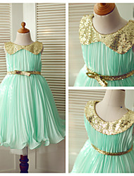 Princess Tea-length Flower Girl Dress - Chiffon/Sequined Sleeveless