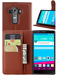 For LG Case Wallet / Card Holder / with Stand / Flip Case Full Body Case Solid Color Hard PU Leather LG