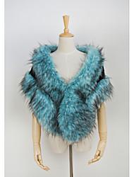 Women's Color Block Blue Coats & Jackets , Vintage / Sexy / Party Cape Sleeveless(Faux Fur)