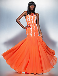 Mermaid / Trumpet Scoop Neck Floor Length Chiffon Tulle Prom Formal Evening Dress with Appliques by TS Couture®