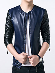 Men's Fashion Mosaic Artificial Leather Jacket