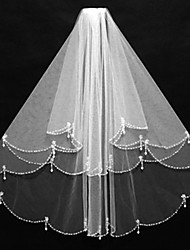 Wedding Veil Two-tier Elbow Veils Beaded Edge Tulle Ivory