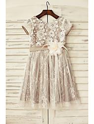 a-line платье девушки цветка колена длиной - кружево с коротким рукавом совок с цветком от thstylee