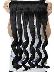 24 pulgadas de largo rizado 5 clips en extensiones de cabello falsas calientan sintético resistente
