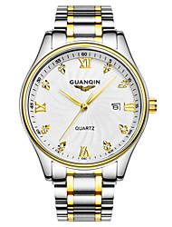 GUANQIN Men's Wrist watch Simulated Diamond Watch Calendar Water Resistant / Water Proof Quartz Stainless Steel Band Silver